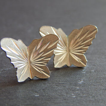 Vintage Sterling Silver Butterfly Stud Earrings - Sterling Silver Earrings - Butterfly Jewelry - Butterfly Earring - Silver Post Earrings
