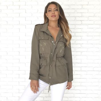 Under The Palm Trees Olive Jacket