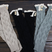 Women's Boot Socks, Women's Knit Legwarmers, Gray Boot Socks, Boot Cuffs, Open Knit Socks, Boot Socks, Women's Lace Button Boot Socks