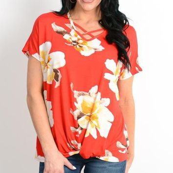 Moana Red Floral Top