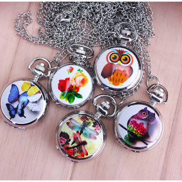 New Fashion Bronze Vintage Full Hunter Jade Cute Owl Pocket Watch with Chain Necklace Pendant Gifts