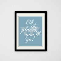 "Oh the places you'll go! World Map. Typography. Quote. Baby Boy. Nursery. Cursive. Modern. Minimalist. Travel. Baby. 8.5x11"" print"