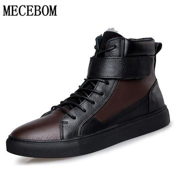 Men boots winter big size 48 genuine leather boots plush warm men casual shoes lace-up ankle boots footwear moccasins 5853m