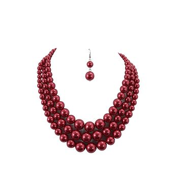 Red Pearl Bridal Cocktail Party Statement Necklace & Earrings Set