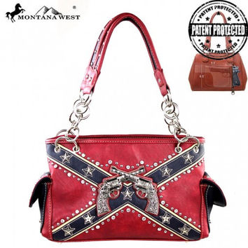 Montana West Rebel Flag Six Shooter Conceal Carry Handbag