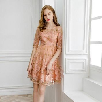 office work Embroidery dress 2019 new High quality spring summer Slim flowers Cute Dress s xl Women Clothing Sweet Party dresses