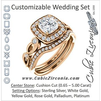 CZ Wedding Set, featuring The Madison engagement ring (Customizable Cushion Cut Design with Halo and Bezel-Accented Infinity-inspired Split Band)