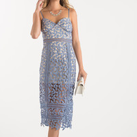 Hannah Blue Lace Midi Dress