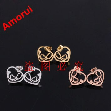 Rose Gold Gold Silver Heart Stethoscope Stud Earrings for Women Fashion Brinco Doucles D'oreille Bijoux Earring Jewelry