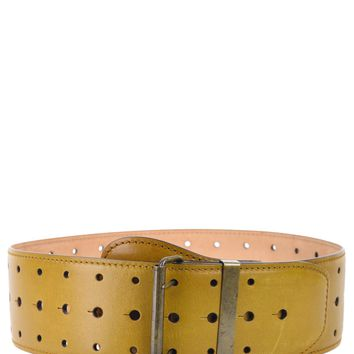 Roberto Cavalli Tan Brown Triple Hole Punch Wide Leather Belt