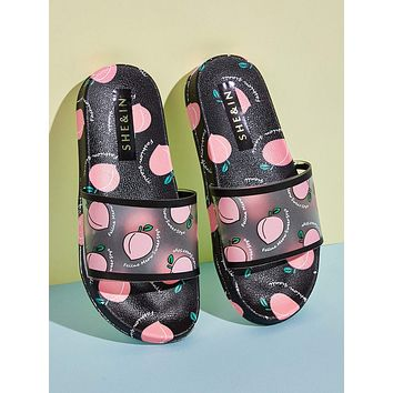 Peach Graphic Open Toe Sliders