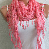 Lace Scarf Pink. Turkish Fabric Fringed Guipure Scarf ..bandana,headband,wedding,bridal,authentic, romantic, elegant,