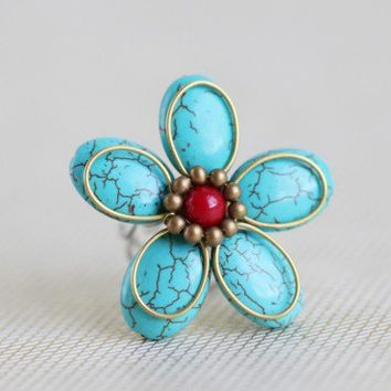 nepeta floral turquoise ring by Nakamol at ShopRuche.com