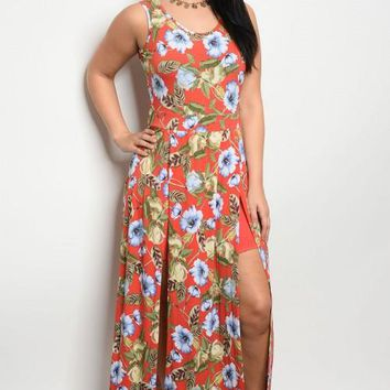 Plus Size Coral Floral Print Maxi Dress