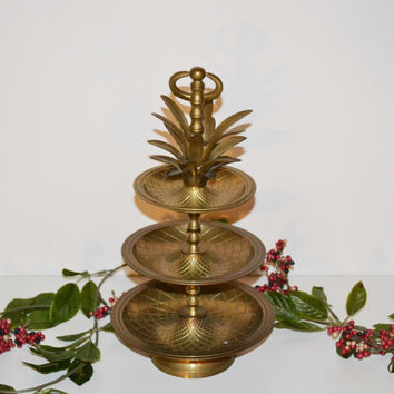 Vintage Brass Pineapple Tray Hollywood Regency Brass Pineapple Tray 3 Tier Tidbit Server Holiday Entertaining