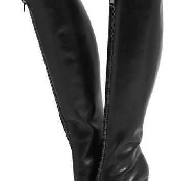 Round Toe Zipper Front Knee High Boots Chunky Heel Boots