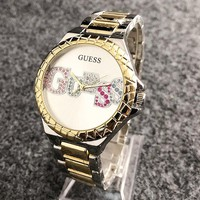 GUESS New fashion dial colorful letter diamond couples watch