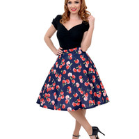 Navy & Pink Carnation Floral High Waisted Scuba Knit Swing Skirt