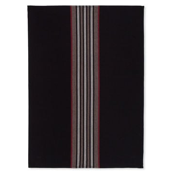 Coucke French Jacquard Cotton Kitchen Dish Towel French Table Collection, Vertical Biarritz FB Pattern, 19 by 29-Inch, Black/Red