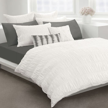 Willow White Duvet Cover by DKNY, 100% Cotton