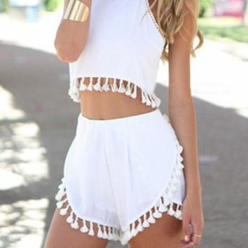 Fashion Online Cute Tassel Two Piece Romper