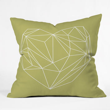 Mareike Boehmer Heart Graphic Yellow Outdoor Throw Pillow