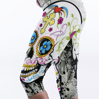 Sugar Skull Knee Length Sports Leggings