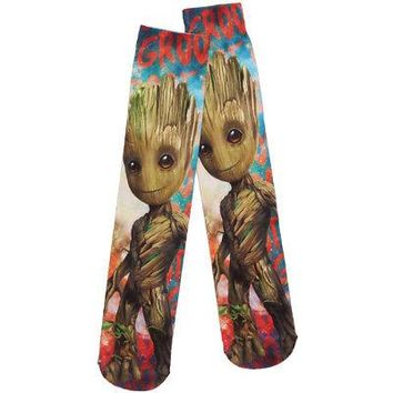 Guardians Of The Galaxy Vol 2 Baby Groot Sublimated Crew Socks - Multi-Color