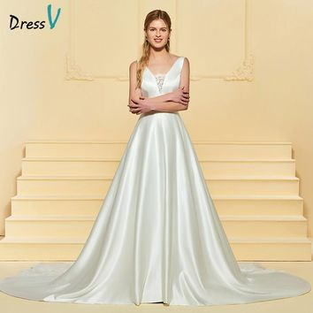 Dressv Long Ivory Wedding Dress V Neck Matte Satin Chapel Train A Line Bow Lace Backless 2018 Custom Wedding Gown Wedding Dress