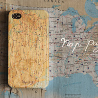 Apple iphone case for iphone iPhone 5 iphone 4 iphone 4s iphone 3Gs : Classic vintage USA map on wood background (Not real wood)