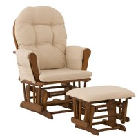 Stork Craft Hoop Glider and Ottoman, Cognac/Beige