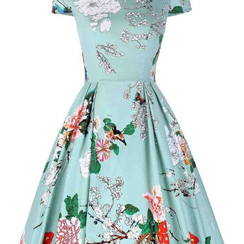 Belle Poque Women Floral Print Dress 2017 Plus Size Clothing Party Dresses 1950s Flare 50s Pattern Vintage Rockabilly Dress