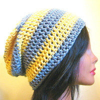 Slouchy Beanie Yellow Gray Grey Striped Womens Hipster Oversize Slouch Hat