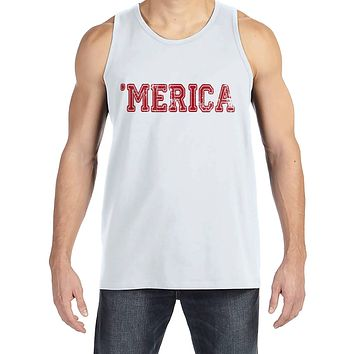 Men's 4th of July Tank Top - Red 'Merica - White Tank - Patriotic Merica 4th of July Party Shirt - Men's Independence Day Patriotic Tank Top