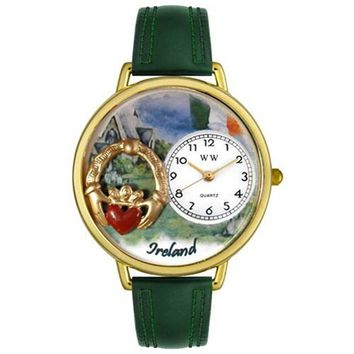 SheilaShrubs.com: Unisex Ireland Hunter Green Leather Watch G-1420004 by Whimsical Watches: Watches