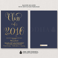 GRADUATION PARTY INVITATION Navy and Gold Glitter Invite Calligraphy Modern College High School Elegant Free Shipping or DiY Printable- Mila