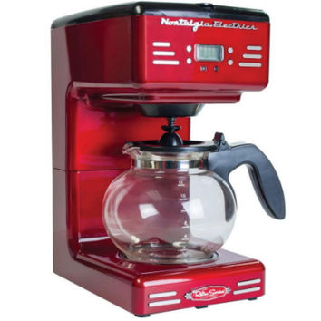 Retro Series 12-Cup Programmable Coffee Maker LED Display Pause & Serve Red