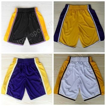 los angeles 24 kobe bryant basketball shorts men breathable 32 magic johnson pant sportswear all stitched team black purple white purple  number 1