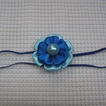 Blue Kanzashi flower headband skinny elastic baby headband newborn headband infant headband toddler headband baby headwrap