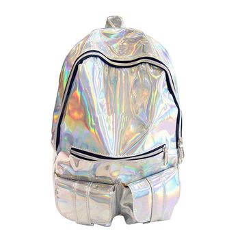 HOLOGRAPHIC Gammaray Hologram backpack Women Silver Hologram Laser Backpack men's Bag leather Holographic Backpack