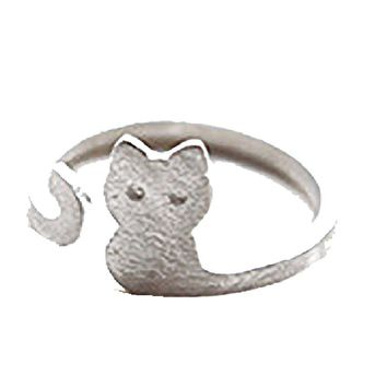 Cartoon Cat Sliver Plated Open Adjustable Ring