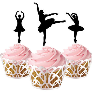 6 pcs in one set ballerina CupCake toppers for party decor, dance cupcake toppers acrylic,  topper for birthday, kids birthday cake decor