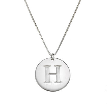 "Personalized initial necklace with one initial charm, 0.80"" circular disc pendent - 925 sterling silver"