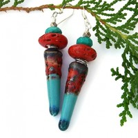 Turquoise Red Spike Earrings, Antique Sherpa Beads Thai Silver Unique Handmade Jewelry for Women