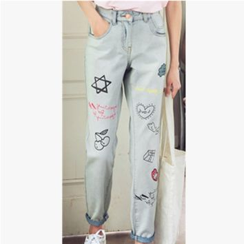 Fashion Personality Graffiti Pattern Print Loose Long Pants Jeans