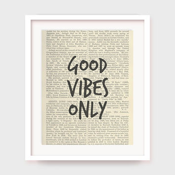 "Typographic Print Wall Art ""Good Vibes Only"" Digital Download, Printable Art, Printable Wisdom, Word Art, Wall Quotes, Inspirational"
