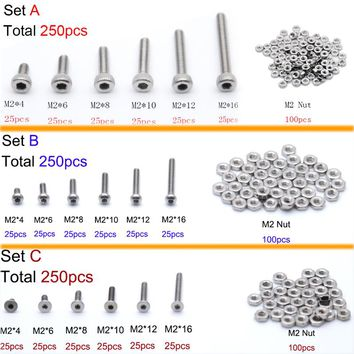 250pc/set A2 Stainless Steel M2 Cap/Button/Flat Head Hex Socket Screws Bolt With Hex Nuts Assortment Kit Mayitr