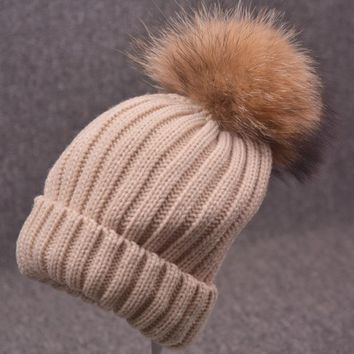 15cm Big Ball Men and Women Real Raccoon Fur Beanie Thick Warm Knitted Female Casual Caps Bonnet Acrylic Russian Hats 10 Colors