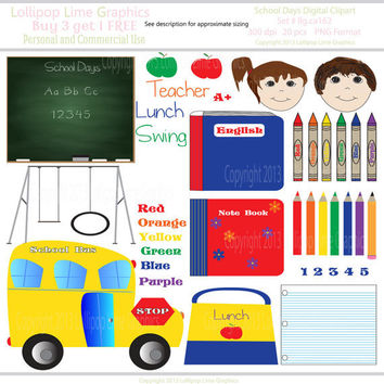 School Days Digital Clipart School Bus Chalkboard Swing Set Notebooks Pencils Kids Graphics Instant Download Word Art