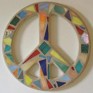 Mosaic Stained Glass Peace Sign  Peace Sign Wall Art  Peace Sign Wall Decor Stained Glass Art Mosaic Art  Hippie  Decor  60's Retro Decor